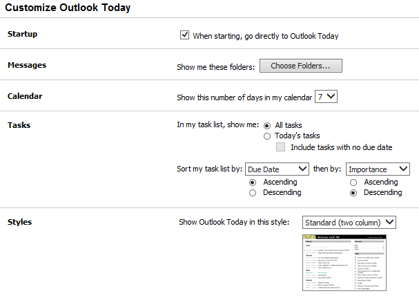 Customize Outlook Today
