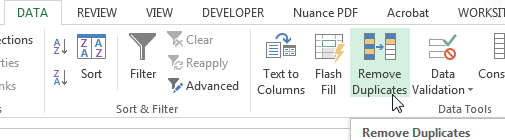 Removing Duplicates in Excel - Click button