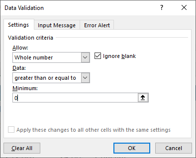 Data Validations in Excel - Select Validation