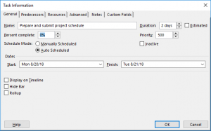 Mark Task as Complete - Dialog box