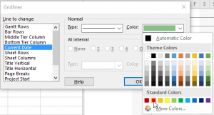 Highlight the date in Project - Color select