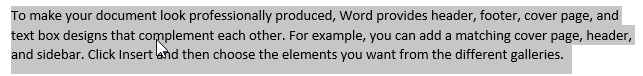 Selecting text in Word - paragraph option