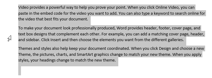 Selecting text in Word - full document