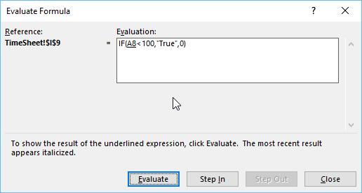 evaluate formula excel - Pop up window