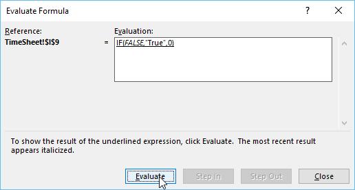 evaluate formula excel