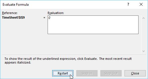 evaluate formula excel- Restart