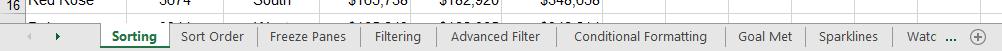 Finding Worksheets in Excel - standard tab view