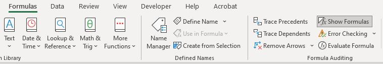 Excel Formulas shortcuts - Task bar