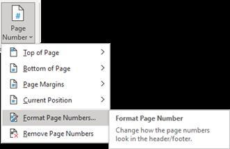 word page number menu
