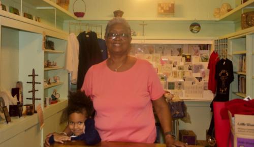 Linda Burgess in Church Shop