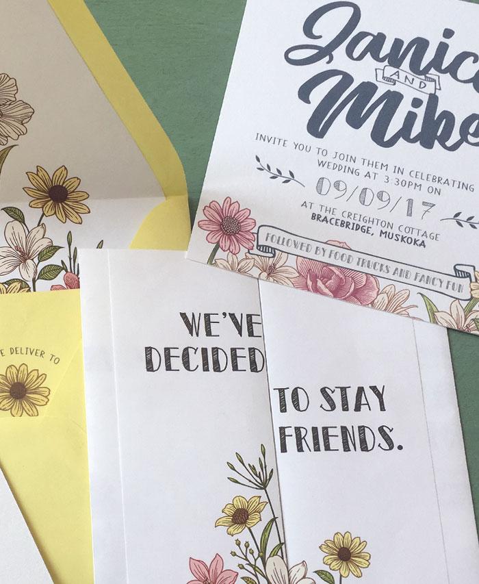 Janice and Mike Handmade Wedding Invitation