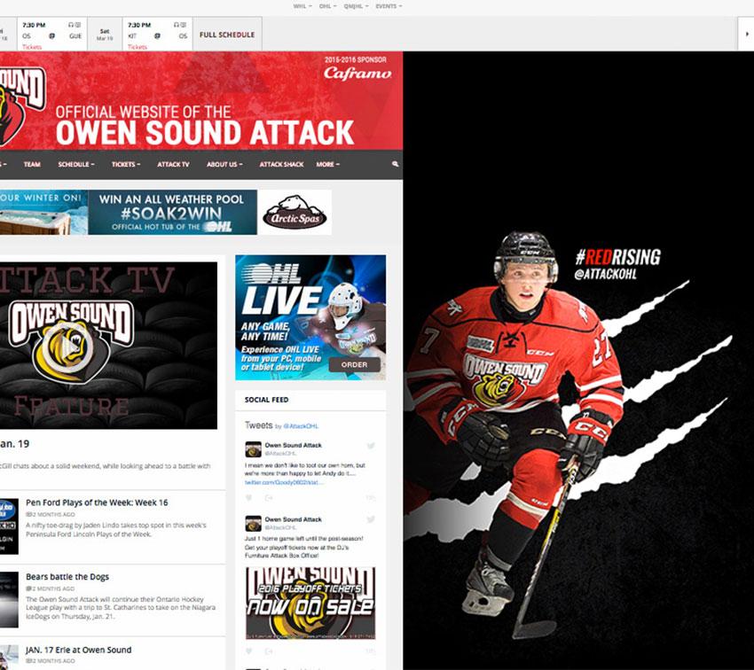 Owen Sound Attack Website graphics
