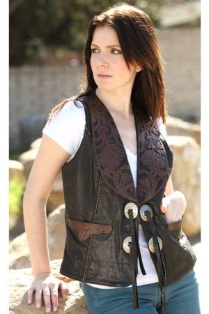 Women hand tooled vests