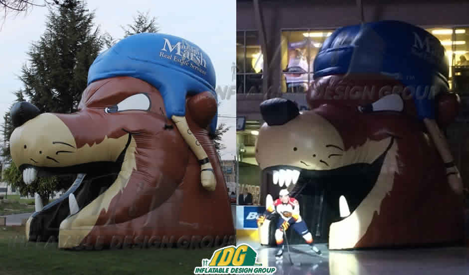 inflatable erie otters head entryway