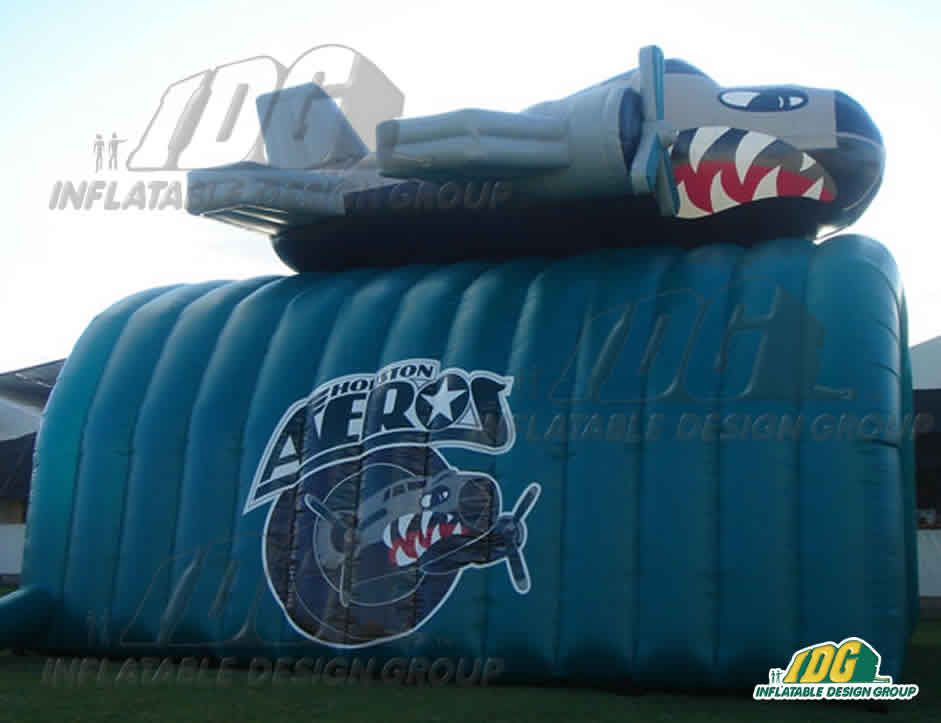 inflatable houston aeros plane on a tunnel hockey entryway