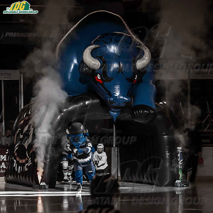 inflatable bull mascot sioux stampede hockey