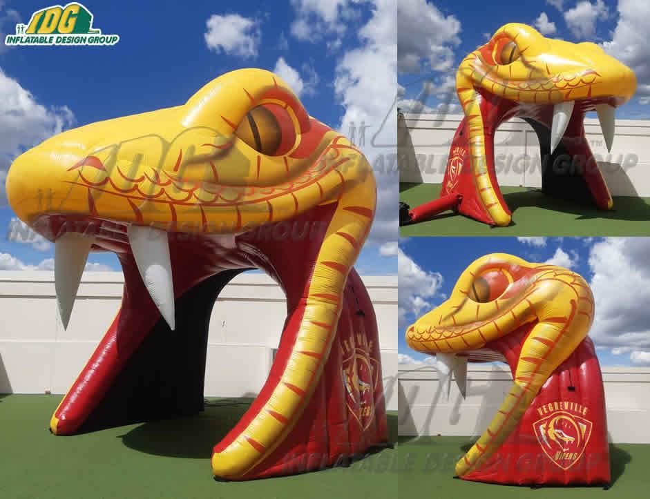 custom inflatable viper entryway for hockey team