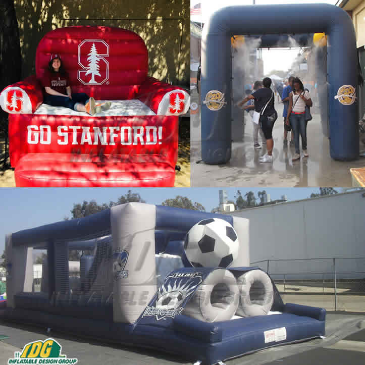 inflatable couch misting station and obstacle course