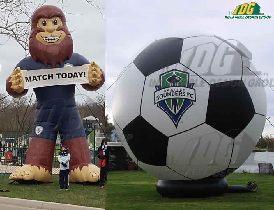 soccer inflatables mascot and soccer ball