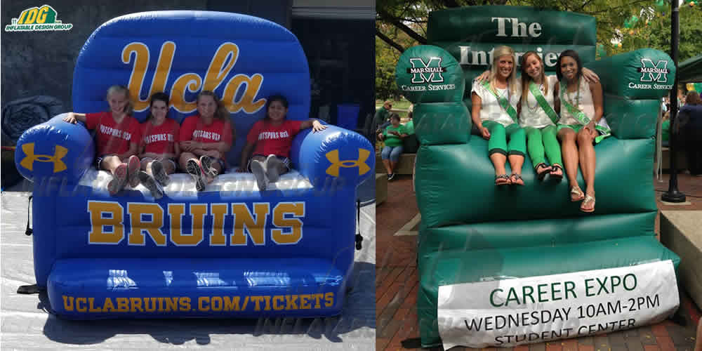 custom inflatable couch and chair for universities