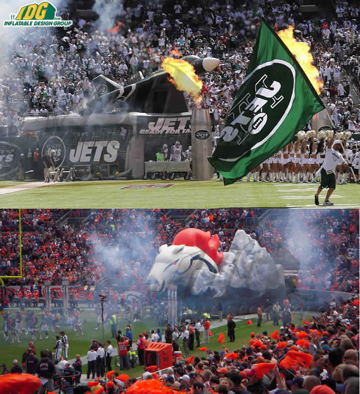 new york jets and denver broncos custom inflatable entryways