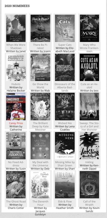 Poster with list of Rocky Mountain Book Award Nominations