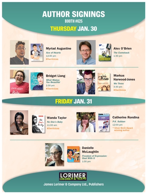 Poster for author signings at OLA 2020.