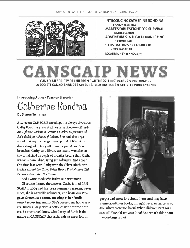 The cover of the CANSCAIP newsletter. A photo of Catherine Rondina is on the cover, next to an article about her.