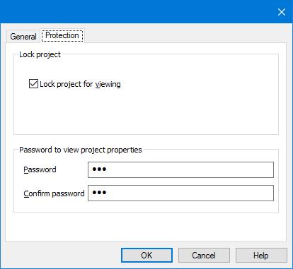 Protect Macro - Project properties window