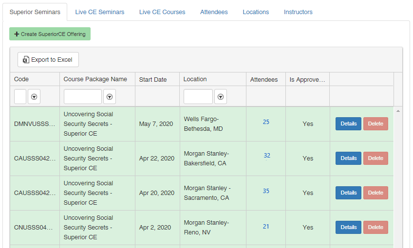 Success Live Track Admin panel displaying upcoming Instructor-led Live CE presentations