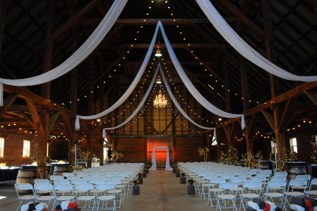 Fabric and Light Swags with Chandelier