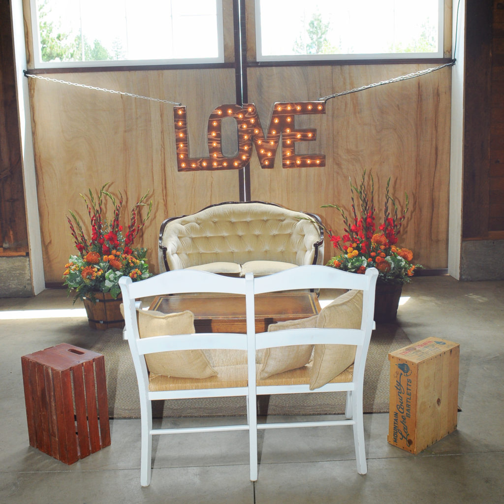Seatng Area with LOVE Marquee sign