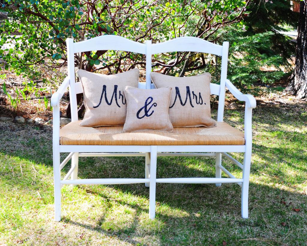 """Garden Bench ($35)  burlap """"Mr. & Mrs."""" pillows ($20)"""