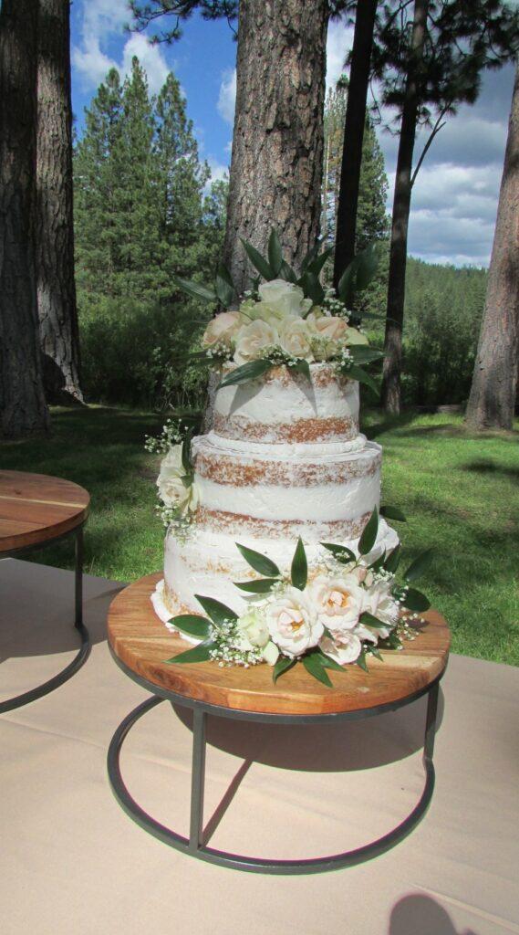 3 Wood and metal cake stands. 12' x 4' h, 14.5 x 7'h, 16'h. $12 ea or all 3 for $30