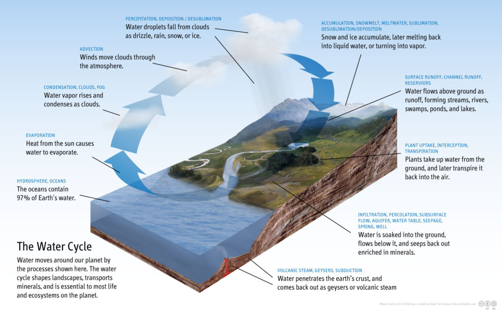 Hydrological Cycle -- Courtesy of Wikipedia -- Creative Commons License CC BY-SA 4.0