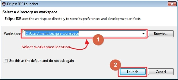 select workspace location