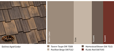 Color Ideas for DaVinci Roofscapes Aged Cedar Shakes
