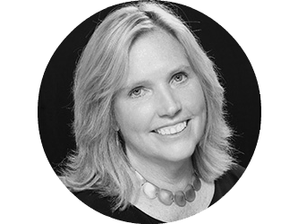 Black and white head shot of Pam Fernley