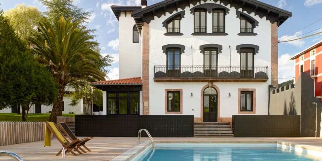 Pool and outdoor view of Luxury Villa in the Basque Country of Spain