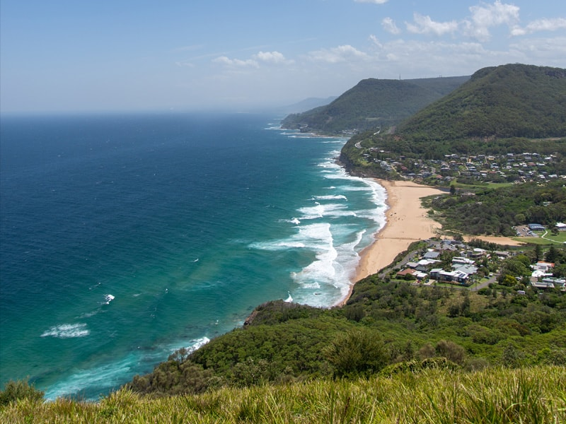 ocean views from a cliff by the Grand Pacific Drive. Located in the Wollongong area near Sydney, Australia.