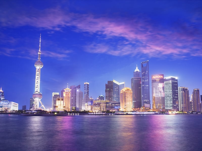 pudong skyline at dusk, from the Bund. Shanghai