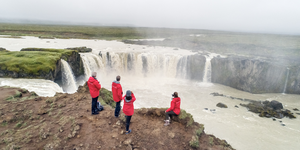 Silversea Cruises' Guests during an excursion, Godafoss Waterfalls, Iceland