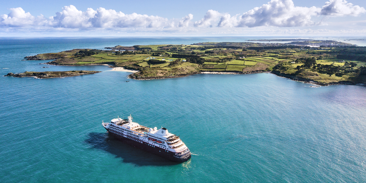 Aerial view of Northern Europe and British Isles and Silversea's Silver Cloud ship