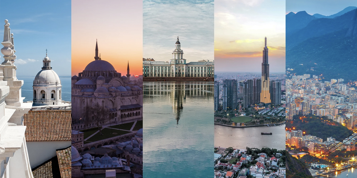 Collage of 5 photos from Silversea's Grand Voyage cruises