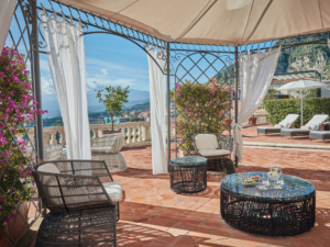 Lounge area on the terrace of the Presidential Suite at Belmond Grand Hotel Timeo