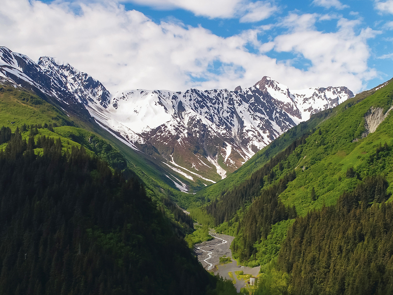Aerial view of the mountain chain in the Seward area, Alaska, USA.