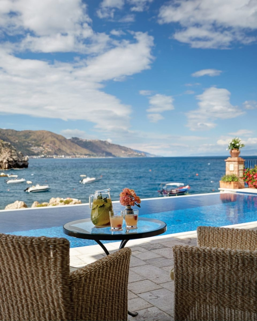 Belmond VILLA SANT'ANDREA balcony view of water and mountains