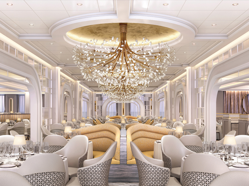 Oceania Vista dining room with large chandelier