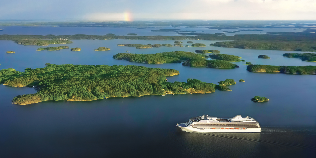 Aerial view of Oceania ship sailing in Baltic.