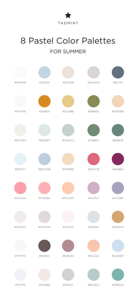 summary of 8 summer pastel color palettes